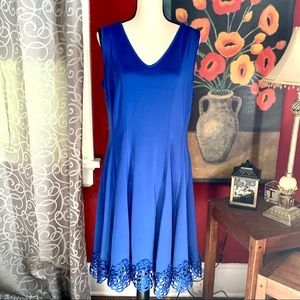 Chetta B Royal Blue Sleeveless Dress Lace Trim